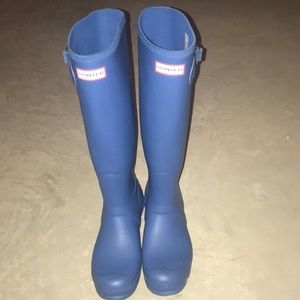 Hunter Rain boots- Tall Matte Blue